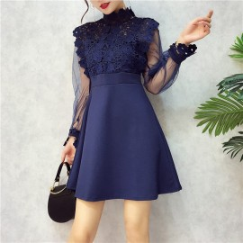 image of Collar perspective flower lace hollow stitching mesh dresses 钩花蕾丝镂空网纱收腰连身裙