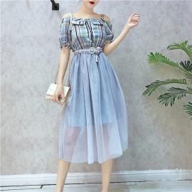 image of Summer Sling lattice splicing mesh dress 吊带格子网纱连身裙