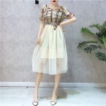 Summer Sling lattice splicing mesh dress 吊带格子网纱连身裙