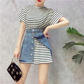 image of HongKong short-sleeved T-shirt denim dresses