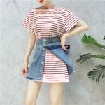 HongKong short-sleeved T-shirt denim dresses