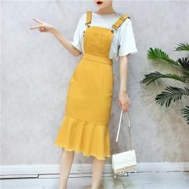 image of Korean Strap dress cowboy fishtail dress 吊带牛仔鱼尾连身裙