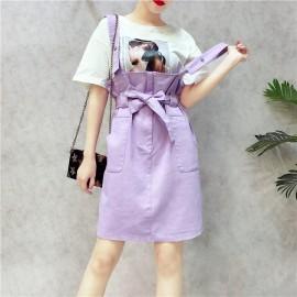 image of College Sweet Denim Skirt 学院甜美牛仔背带裙