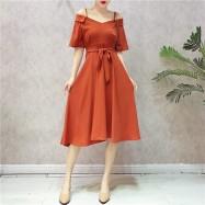 image of Taiwan Off-shoulder V-neck chiffon dresses 露肩吊带V领系带雪纺连衣裙