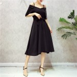 Taiwan Off-shoulder V-neck chiffon dresses 露肩吊带V领系带雪纺连衣裙