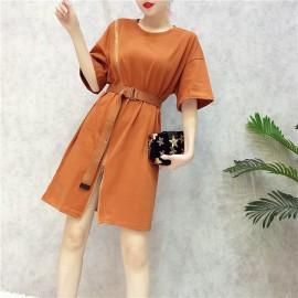 image of Korean beveled zipper split loose long section dresses
