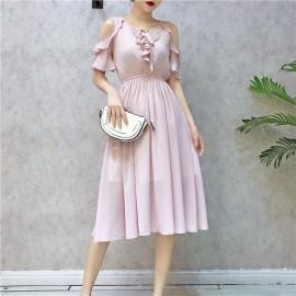 image of Ruffled strapless short sleeve chiffon dress 荷叶边露肩雪纺连身裙
