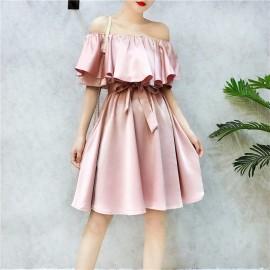 image of Summer collar off-shoulder dresses 一字领荷叶腰带蝴蝶结连身裙