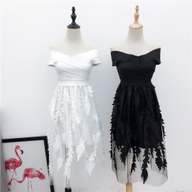 image of Woman's temperament collar strapless dresses 一字领网纱收腰显瘦连衣裙