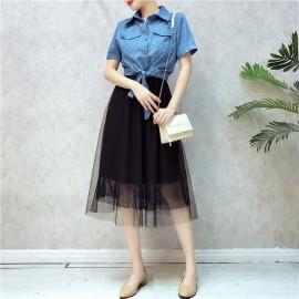 image of Short Sleeve Denim Shirt Mesh Sling Dress