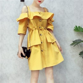 image of Taiwan Summer Open-Shoulder Dresses *free size