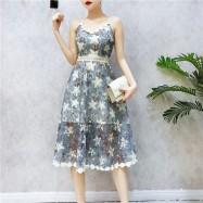 image of HK halter high waist flower lace dress 吊带露背高腰蕾丝连身裙