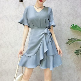 image of Korean V-neck trumpet sleeve irregular ruffled chiffon dress V领喇叭袖不规则荷叶边雪纺连衣裙