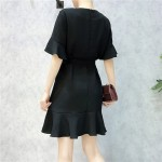 Korean V-neck trumpet sleeve irregular ruffled chiffon dress V领喇叭袖不规则荷叶边雪纺连衣裙