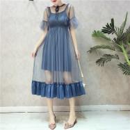image of Korean High waist wooden ear bottom strap dress two-piece 高腰木耳边打底吊带长裙两件套