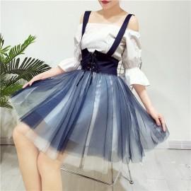 image of HK collar shirt dress with mesh gauze skirt heart one set