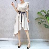 image of Korean modern short-sleeved irregular dress 木耳边短袖不规则连身裙