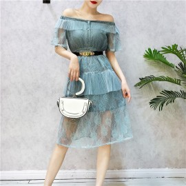 image of Taiwan lace short-sleeved high waist with belt dress 一字领蕾丝短袖腰带连身裙