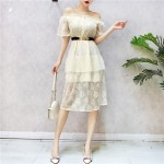 Taiwan lace short-sleeved high waist with belt dress 一字领蕾丝短袖腰带连身裙