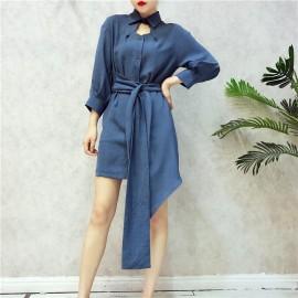 image of Korean New Smart Design Dress 心机衬衣设计感衬衫裙