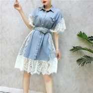 image of Korean denim fight lace short-sleeved dress 牛仔拼蕾丝韩版短袖连身裙