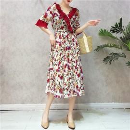 image of Summer V-neck lotus leaf short-sleeved sukol retro flower chiffon dresses