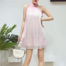 image of Premium Vest dress collar bow sequin dress skirt banquet