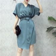 image of Korean Loose Belt V Neck Skirt 宽松腰带V领连身裙