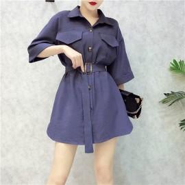 image of Korean temperament loose shirt Dress 韩版气质衬衫连衣裙