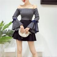 image of Off shoulder Plaid collar ribbon Dress 格子一字领喇叭袖袖连身裙