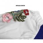 Off shoulder embroidered denim dress 一字领刺绣牛仔裙