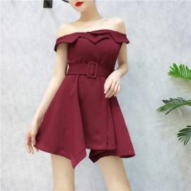 image of Off Shoulder Irregular dress 一字领不规则连身裙