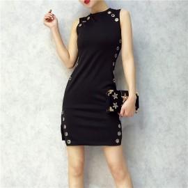image of Korean Sleeveless Stretch Cloth Slit Metal Loop dress 开叉金属圈连身裙