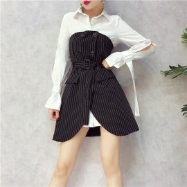 image of Double Breasted Striped Tube Top Dress Trendy Set 双排扣条纹抹胸连身裙
