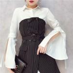 Double Breasted Striped Tube Top Dress Trendy Set 双排扣条纹抹胸连身裙