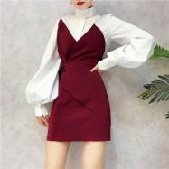 image of High-necked Lantern Sleeve V-neck Waist Bra Top Dress 灯笼袖抹胸连身裙套装