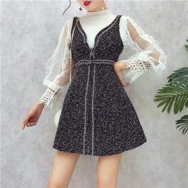 image of Bottoming Lace Bright Silk Woolen Strap Dress 蕾丝衫亮丝吊带连身裙