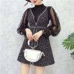 Bottoming Lace Bright Silk Woolen Strap Dress 蕾丝衫亮丝吊带连身裙