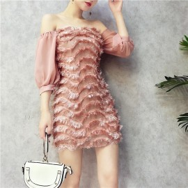 image of Chiffon sleeves spell wave feather strapless collar dress 雪纺波浪羽毛一字领连身裙