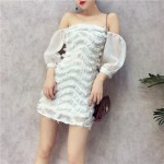Chiffon sleeves spell wave feather strapless collar dress 雪纺波浪羽毛一字领连身裙