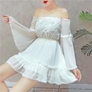 image of Off shoulder chiffon dress summer 一字领喇叭袖短裙雪纺连身裙