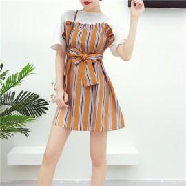 image of Summer color stripe free belt short skirt 彩色条纹小清新腰带连身裙衣长