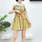 Summer color stripe free belt short skirt 彩色条纹小清新腰带连身裙衣长