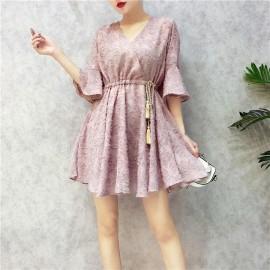 image of Korean v-neck lace fairy dress V领喇叭袖仙仙短裙