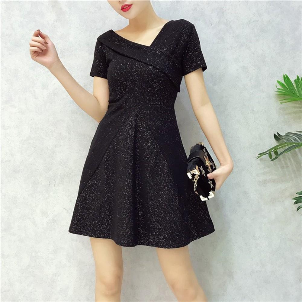 Korean Retro irregular V-neck sequined dress 复古不规则V领亮片连身裙