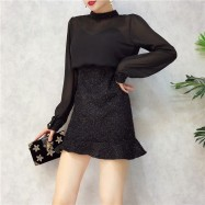 image of Korean mesh long-sleeved ruffled silk dress 网纱长袖荷叶边亮丝连衣裙