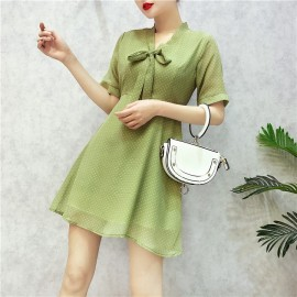 image of Chiffon Bow Short Sleeve Dress 蝴蝶结短袖连身裙