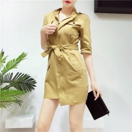 image of Korean collar personality cool irregular dress 立领不规则收腰蝴蝶结腰连身裙