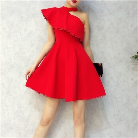 image of Premium single shoulder lace edge RED dresses 挂脖露单肩蕾丝边小红裙