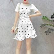 image of Summer set T-shirt wave point ruffle tube top Irregular dress 两件套T恤波点荷叶边抹胸连身裙